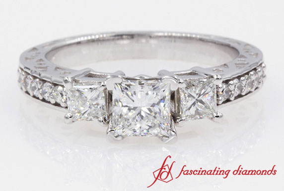 Princess Cut Diamond Ring In White Gold