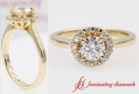 Floating Floral Halo Diamond Engagement Ring In Gold-FDENS3172ROR