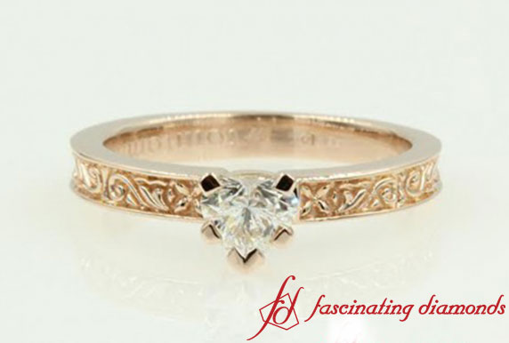 Flower Carved Solitaire Ring
