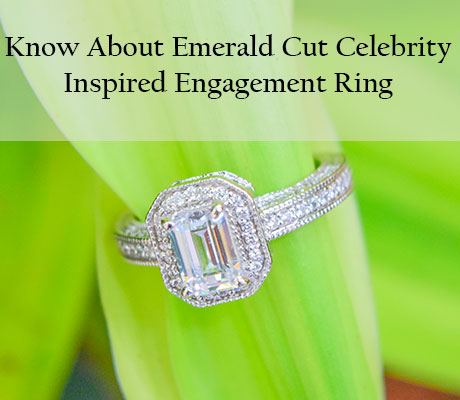 Emerald Cut Celebrity Inspired Engagement Ring