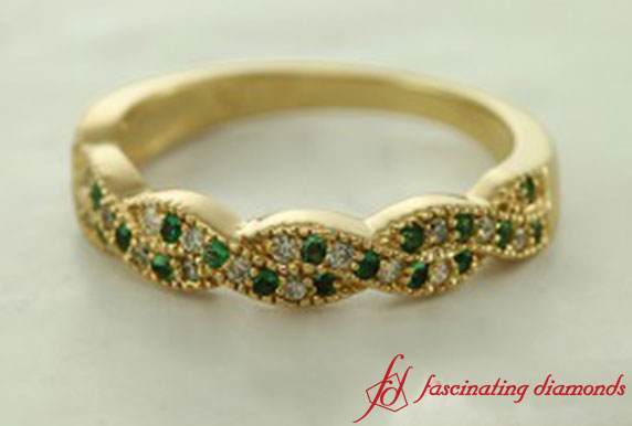Emerald Milgrain Band