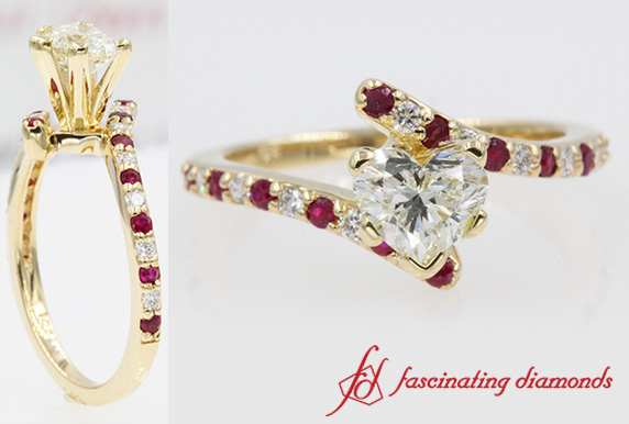 Petite Bypass Engagement Ring With Ruby