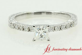 Petite Vintage Princess Cut Diamond Ring