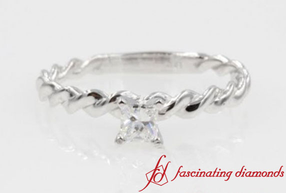 Twisted Braided Solitaire Ring