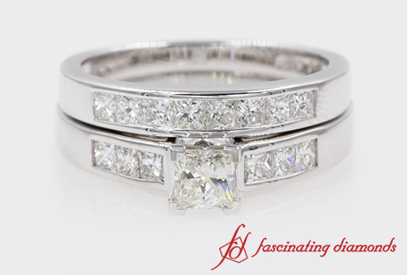 Princess Cut Channel Wedding Set