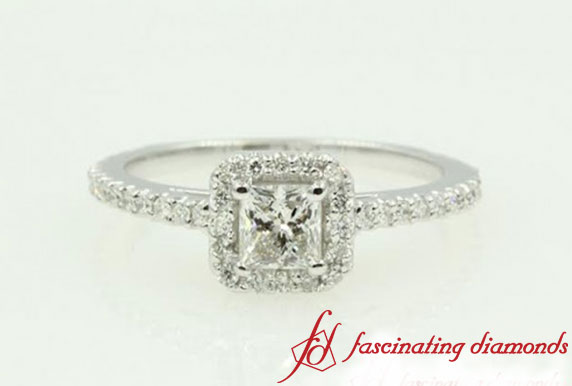 Princess Floating Halo Diamond Ring