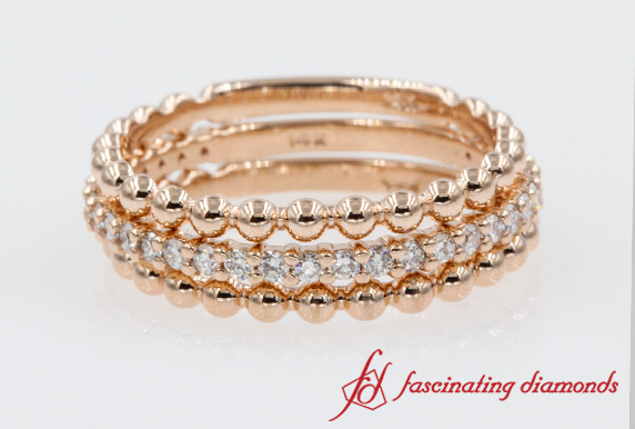 Rose Gold Diamond Stack Band