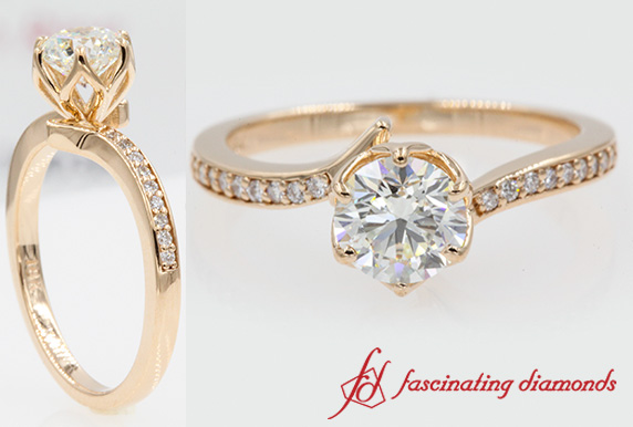 Six Prong Floral Petite Engagement Ring In 18k Rose Gold