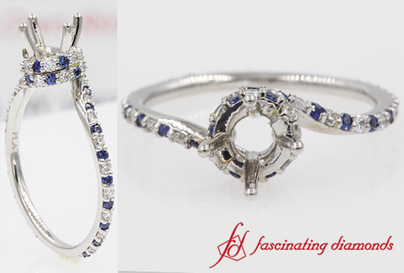 Swirl Ring Setting With Sapphire