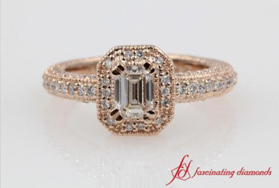 Vintage Emerald Cut Diamond Engagement Ring In Rose Gold