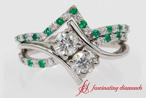 2 Stone Bypass Emerald Wedding Set In White Gold-FD652210