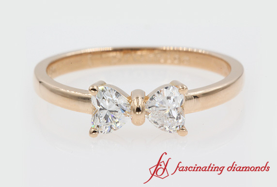 2 Stone Heart Cut Bow Diamond Anniversary Ring