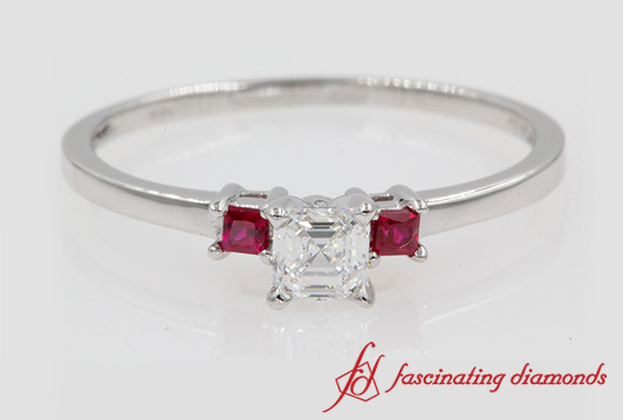 3 Stone Asscher Cut Engagement Ring