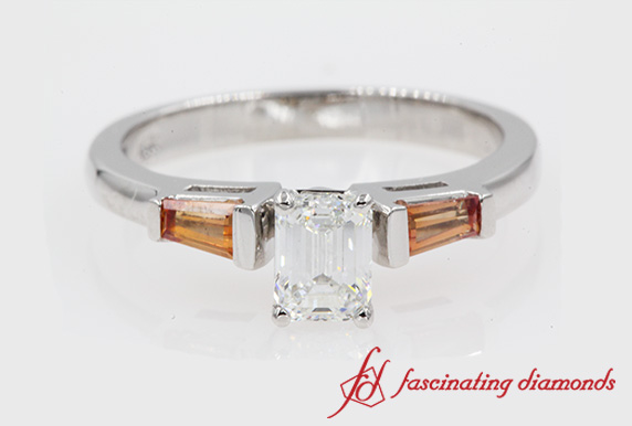 3 Stone Engagement Ring With Orange Sapphire