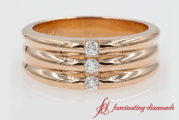 3 Stone Wedding Anniversary Band In Rose Gold-FDWBS147