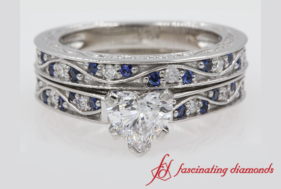 Antique Heart Diamond Wedding Set