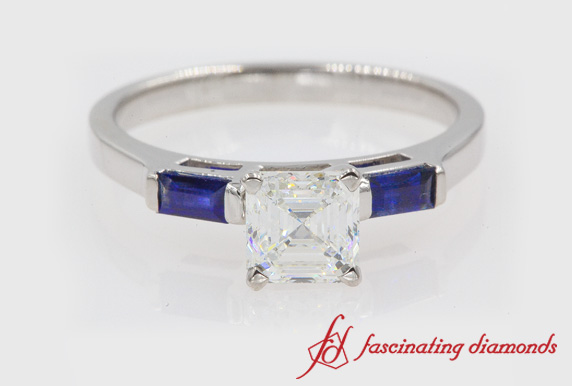 3 Stone Ring With Sapphire Baguette