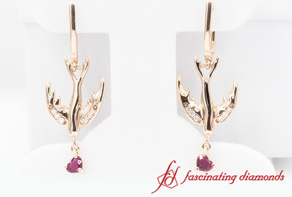 Bird Design Ruby Drop Earring