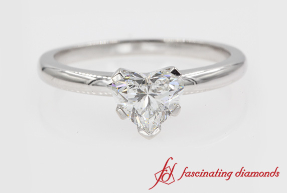 Classic Heart Diamond Solitaire Engagement Ring In Platinum
