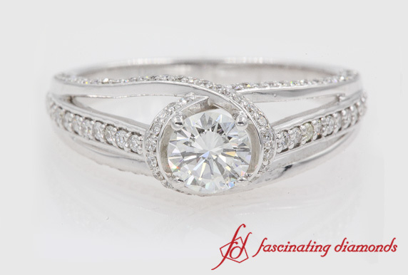 Criss Cross Halo Engagement Ring In White Gold-FDENR8359ROR