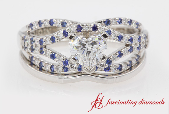 Crossover Heart Cut Ring Set With Sapphire In White Gold
