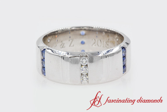 Customized 3 Stone Mens Band