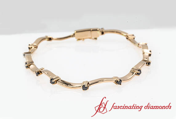 Customized Delicate Wave Bracelet With Black Diamond In Rose Gold