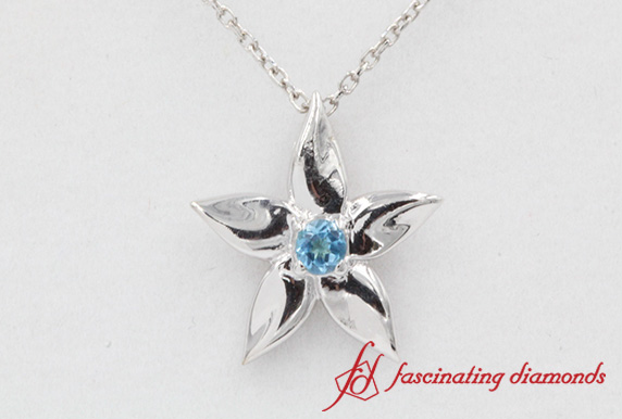 Flower Blue Topaz Pendant