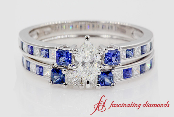 Delicate 3 Stone Bridal Set With Sapphire In White Gold