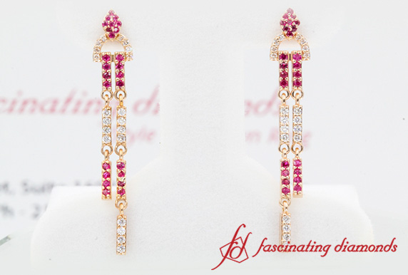 Rose Gold Dangle Earring With Ruby