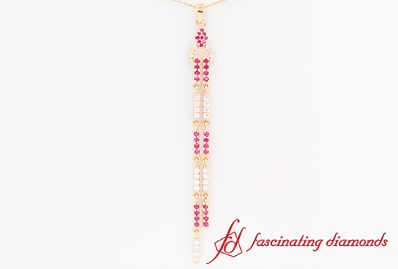 Diamond Drop Dangle Necklace With Ruby In 18K Rose Gold