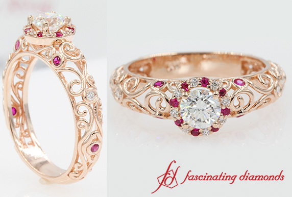 Dome Filigree Ruby Engagement Ring