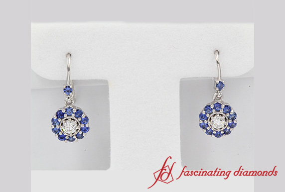 Floral Diamond Dangle Earring With Sapphire
