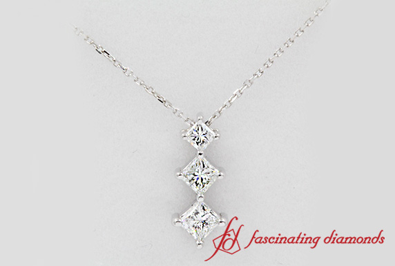 Graduated 3 Princess Cut Drop Necklace