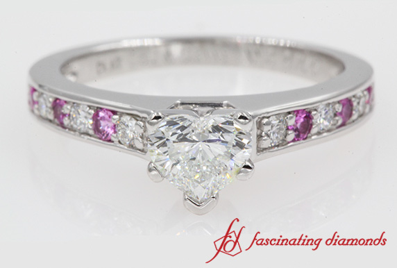 Heart Diamond Ring With Pink Sapphire