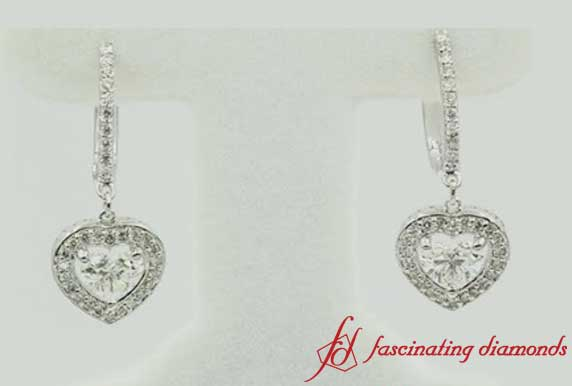 Heart Halo Diamond Drop Earring