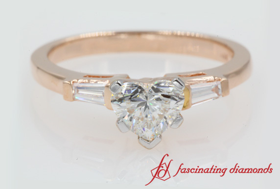 Heart Shaped 3 Stone Engagement Ring In Rose Gold-FDENS100R