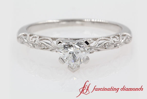 Heart Shaped Paisely Milgrain Ring