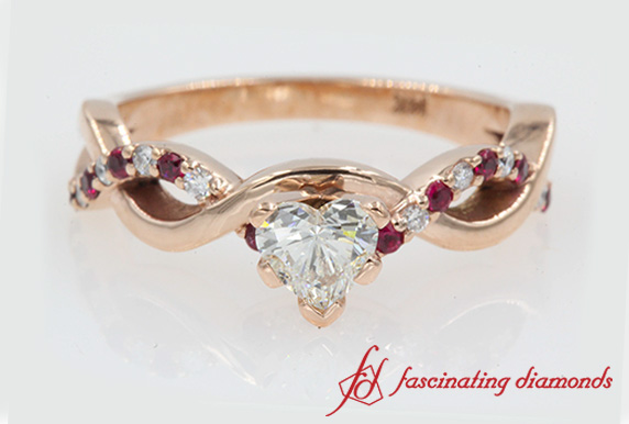 Infinity Diamond & Ruby Engagement Ring