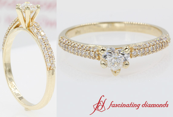 Micropave Natural Heart Diamond Ring