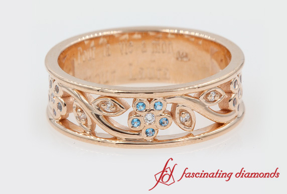 Rose Gold Blue Topaz Band For Women