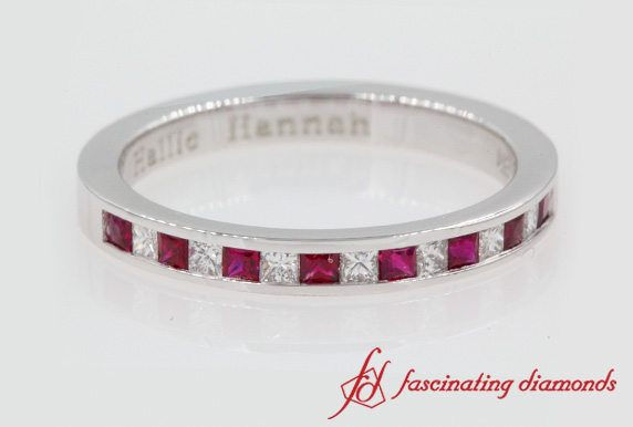 Princess Cut Channel Ring With Ruby In White Gold