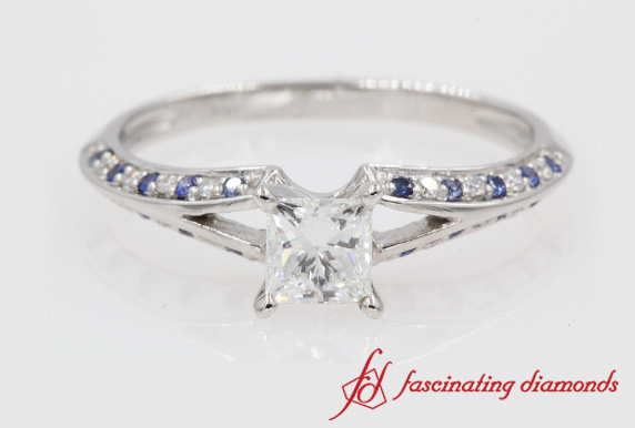 Princess Cut Petite Split Shank Ring With Sapphire In 18K White Gold-FDENS3049-R