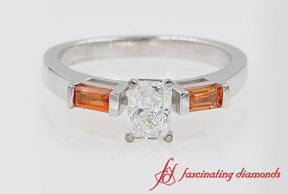 Radiant Cut 3 Stone Engagement Ring With Orange Sapphire In White Gold