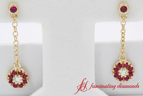 Ruby Halo Drop Dangle Diamond Earring