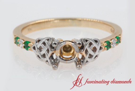 Semi Mount Side Stone Celtic Engagement Ring In Rose Gold-FDENS2255R
