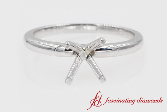 Semi Mount Solitaire Engagement Ring In White Gold