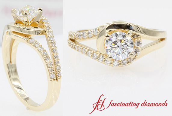 Split Round Diamond Ring