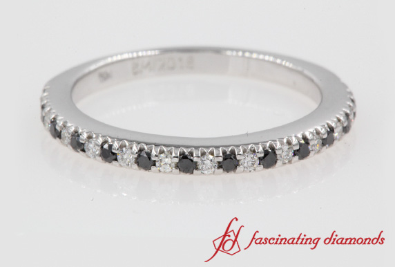 Thin Round Cut Band With Black Diamond In White Gold