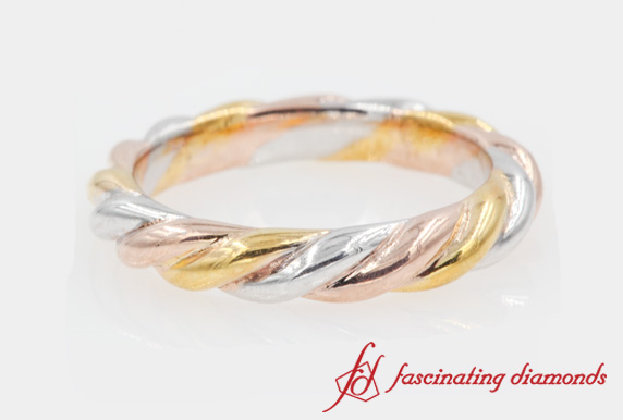 Twisted Rope Women Wedding Band In Multi Gold-FD51293B
